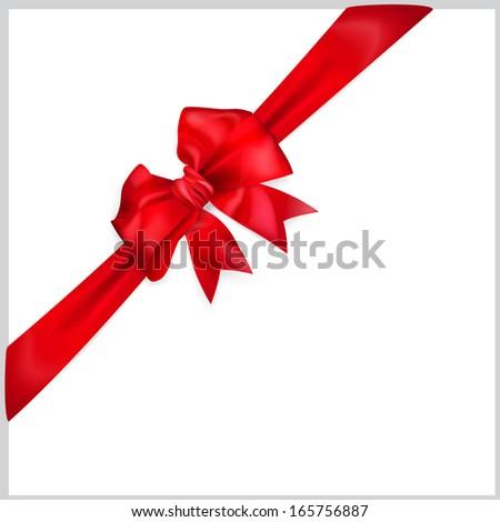 Red bow with diagonally ribbon. Raster version. - stock photo