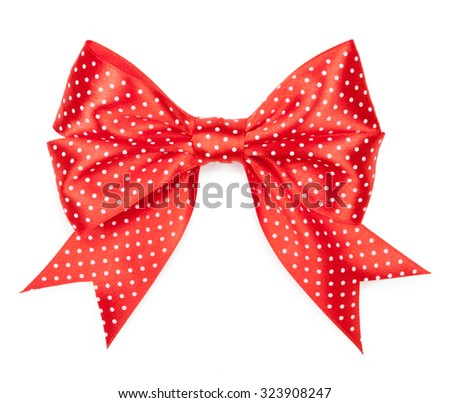 red bow with polka dots isolated on white background - stock photo