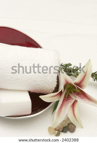 red bowl with towel and flowers - stock photo