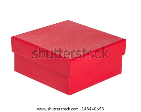 red box isolated on white background - stock photo