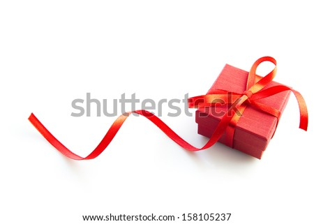 RED BOX SERIES. Little red gift box isolated on white background. - stock photo