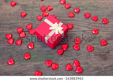 red box with a gift on Valentine's Day - stock photo