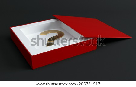 Red box with question mark. 3d render illustration - stock photo