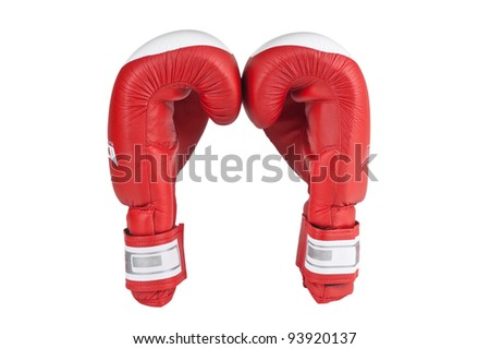 red boxing glove isolated on white background - stock photo