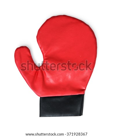 Red boxing glove on the white background. Leisure activity. - stock photo