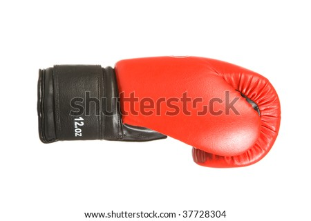 Red boxing glove. Studio isolation on white background. - stock photo