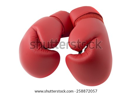 Red boxing gloves isolated - stock photo