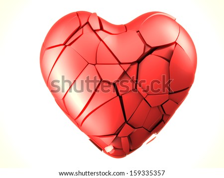 red breaked heart - stock photo