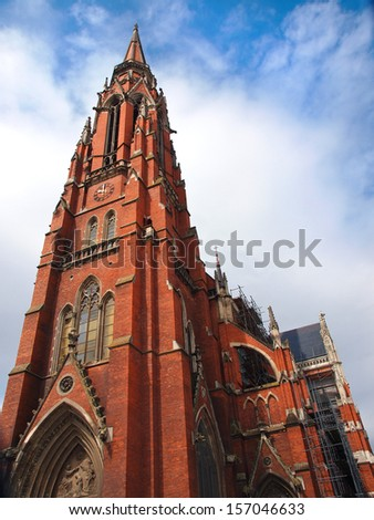 red brick church tower in Osijek Croatia - stock photo