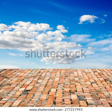 red brick floor against the sky - stock photo