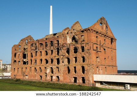Red brick mill, ruined during the World War 2, as a war monument in a center of Volgograd (former Stalingrad). Russia - stock photo