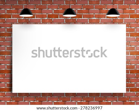 red brick room with white poster on wall - stock photo