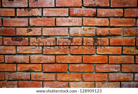 Red brick wall and background - stock photo