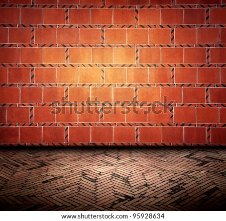 red brick wall room - stock photo