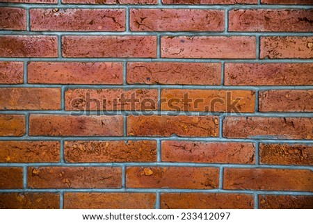 Red brick wall seamless Vector illustration background - stock photo