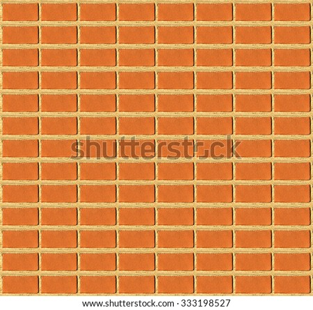 Red brick wall texture background. Orange textured detail surface, building view. Vintage pattern of brown brick decor with nobody. Ornament city structure of house home made from block concrete. - stock photo