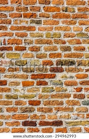 Red Brick Wall Texture Background. Vertical shot  - stock photo