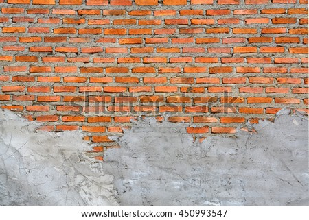 Red brick wall with Cement plastering - stock photo