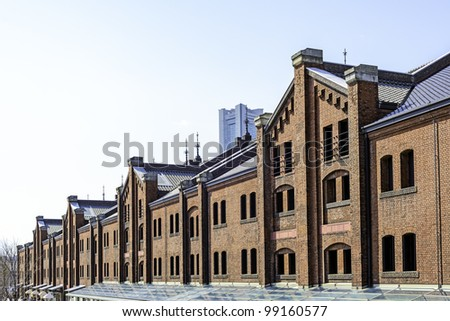 red brick warehouse in Yokohama, Japan - stock photo
