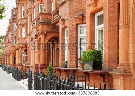 Red bricks houses in London, english architecture - stock photo
