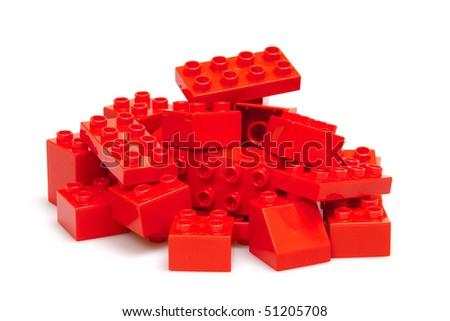 red bricks isloted on white - stock photo
