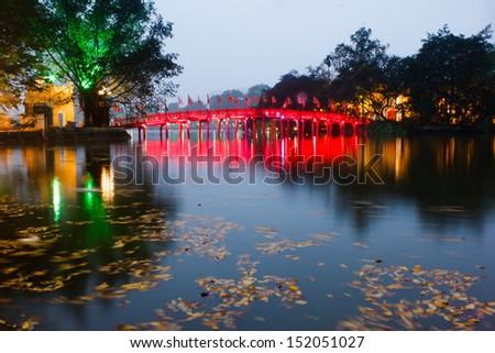 Red Bridge in Hoan Kiem Lake at Night, Ha Noi, Vietnam - stock photo