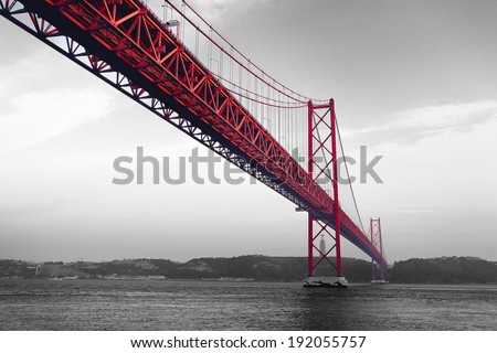 Red Bridge on a monochromatic background - stock photo