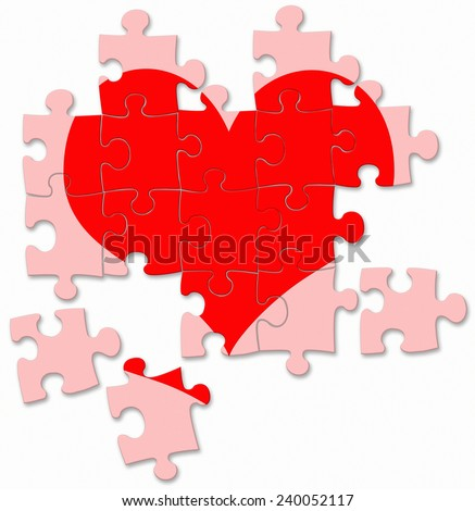 red broken heart made by puzzle pieces - stock photo
