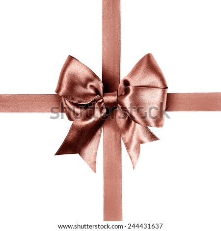 red brown bow made from silk ribbon isolated - stock photo