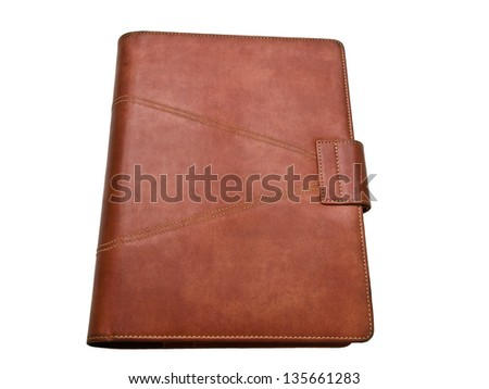 Red brown leather organizer isolated by white - stock photo