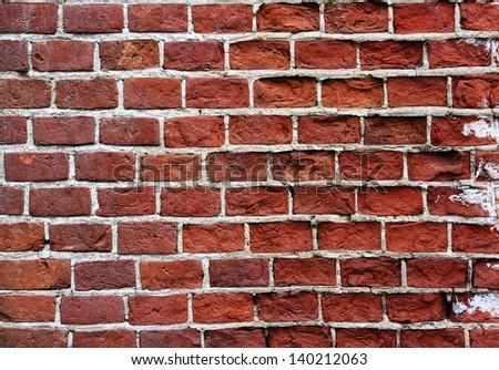 red brown old bricks texture, grunge background - stock photo