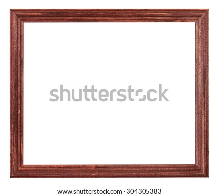 red brown painted narrow wooden picture frame with cut out blank space isolated on white background - stock photo