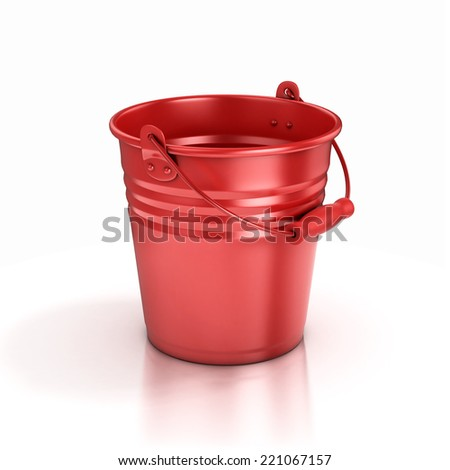 red bucket isolated on a white background  - stock photo