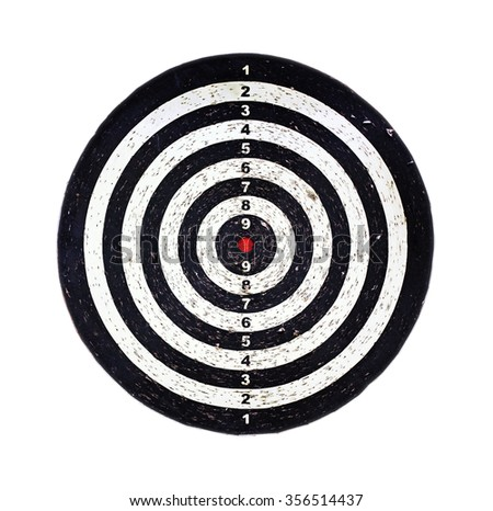 Red bulls eye on a dart bord, isolated on white - stock photo