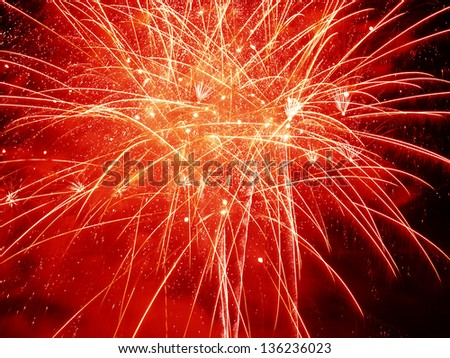 Red Burst..Firework Display Nottingham Riverside Festival - stock photo