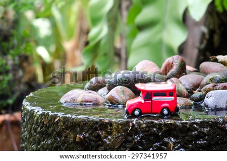 red bus toy model - stock photo