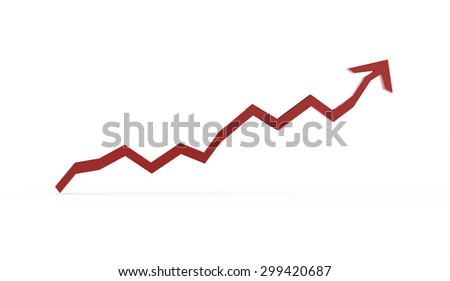 Red business graph chart arrow rendered on white background - stock photo