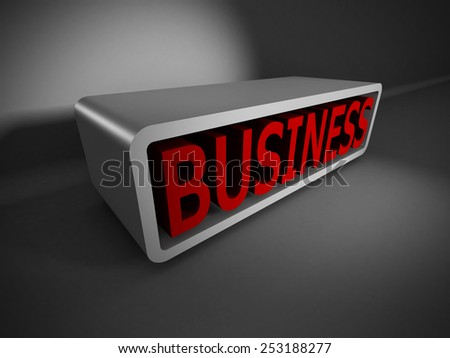 red BUSINESS text 3d on dark background. concept 3d render illustration - stock photo