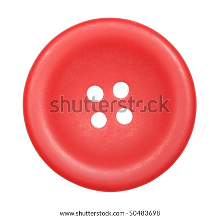red button for clothes isolated on white background, top view - stock photo