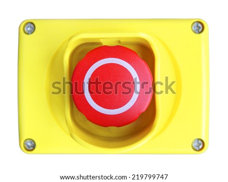 Red button in the yellow plastic box - stock photo
