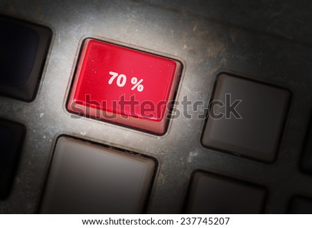 Red button on a dirty old panel, selective focus - 70% - stock photo