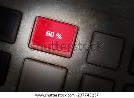 Red button on a dirty old panel, selective focus - 60% - stock photo