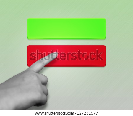 Red Button Selected - stock photo