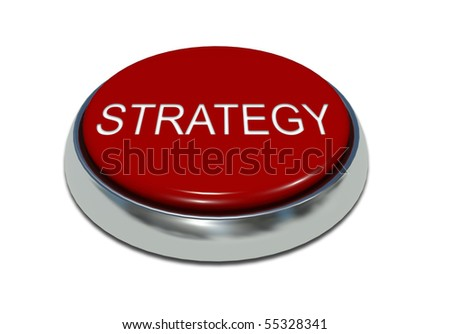 Red button with a metal edging and an inscription - stock photo
