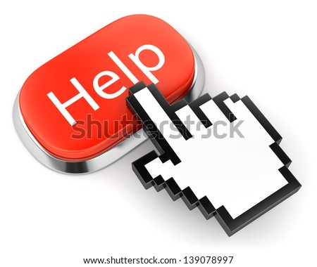 Red button with Help text and hand link selection computer mouse cursor isolated on white - stock photo