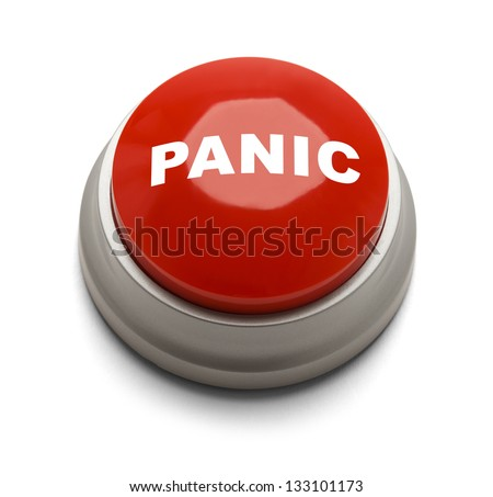 Red button with panic printed on it isolated on a white background. - stock photo