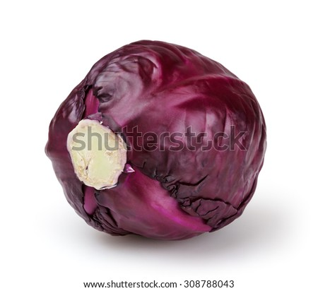 Red cabbage isolated on white background with clipping path - stock photo