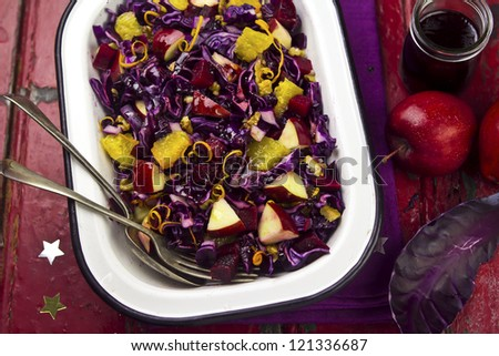 Red cabbage salad - stock photo