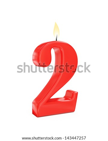 red cake candle number two - 2 isolated on white background - stock photo