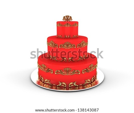 Red cake on three floors with gold ornaments on it isolated on white background - stock photo